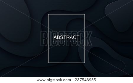Black Paper Cut Background. Abstract Realistic Papercut Decoration Textured With Wavy Layers. 3d Top