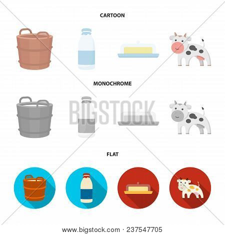 A Barrel Of Milk, Butter, A Cow. Milk Set Collection Icons In Cartoon, Flat, Monochrome Style Vector