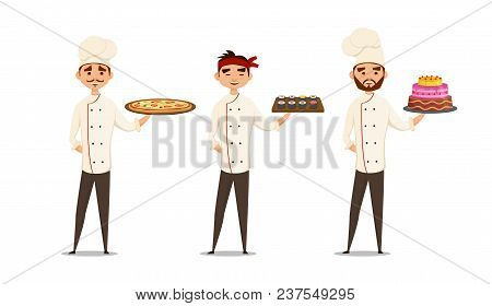 Professionals Character Set. Smiling Multicultural Chefs In Uniform In Restaurant Cooking. Cooking F