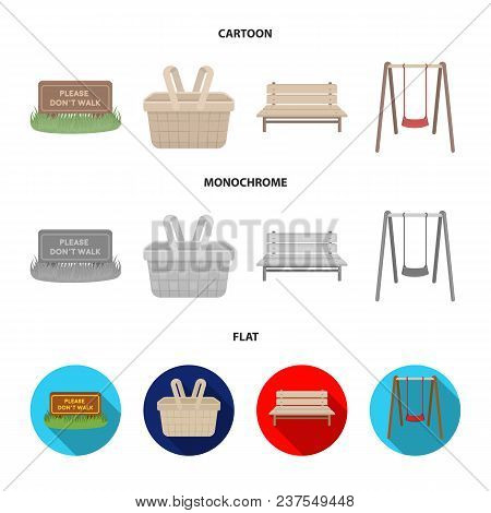 Lawn With A Sign, A Basket With Food, A Bench, A Swing. Park Set Collection Icons In Cartoon, Flat,