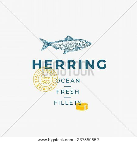 Ocean Fresh Fillets Abstract Vector Sign, Symbol Or Logo Template. Hand Drawn Herring Fish With Prem