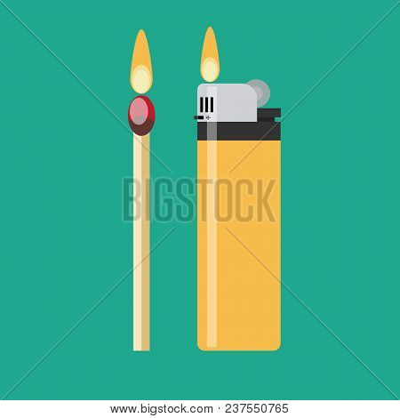 A Match And A Blue Gas Lighter Each With Flaming Fire. Stock Flat Vector Illustration.