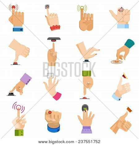 Push Button Vector Hand Pushing Control-button And Finger Pressing Knobby Command-button Start Illus