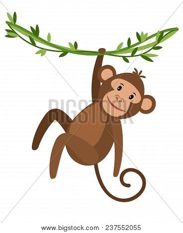 Funny Cartoon Monkey Icon On White Background. Cute Monkey Hanging On A Creeper, Vector Illustration