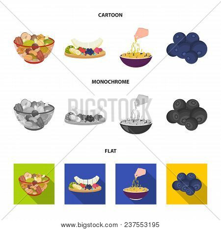 Assorted Nuts, Fruits And Other Food. Food Set Collection Icons In Cartoon, Flat, Monochrome Style V
