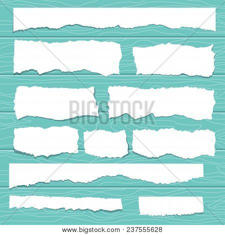 Scrap Paper On Wooden Background. Torn Pieces Of White Sheet. Flat Vector Cartoon Illustration. Obje