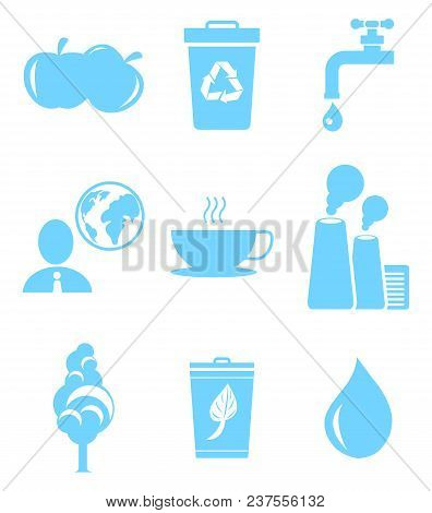Set Of Icons In Save Environment Concept. Healthy Food, Politician Thinking About Global Issues, Gar