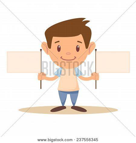 Child Holding Blank Flag. Stock Flat Vector Illustration.