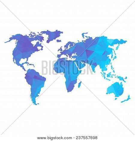 Global World Map. Blue Color. Low Poly Vector Objects Isolated On White Background. Objects Isolated
