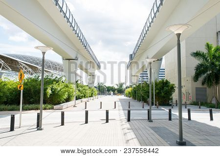 Viaduct Structures In Downtown District Of Miami, Usa. Overpass Or Bridge Railway Road On Sunny Outd