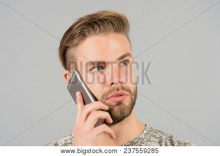 Bearded Man Talk On Mobile Phone. Macho Use Smartphone. Guy With Mobile Device. Digital Marketing, B