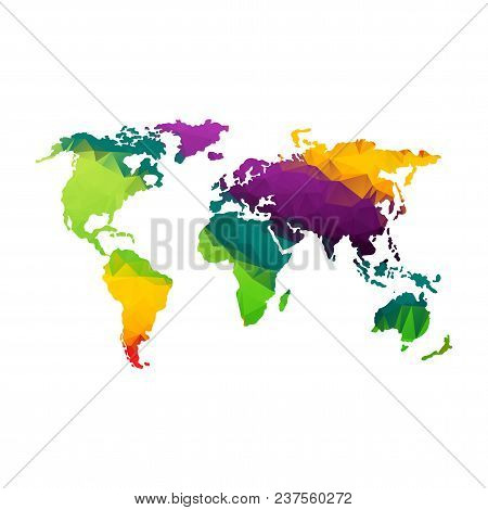 Global World Map. Rainbow Color. Low Poly Vector Objects Isolated On White Background. Objects Isola