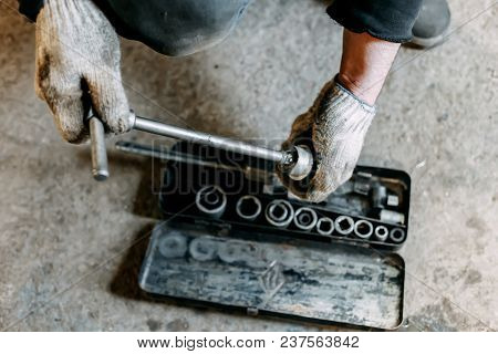 A Top View Image Of Hand Tools. Set Of Tools On Concrete Panel Background With Copy Space. Many Chro