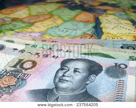 Yuan On The Map Of Africa. Chinese Trade With African Countries