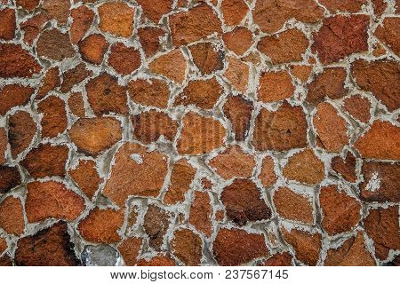 Part Of Stone Wall For Background Or Texture. Stone Cladding. Background Of Stone Wall Texture. Ston