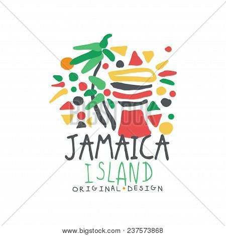 Jamaica Island Logo Template Original Design, Exotic Summer Holiday Badge, Label For A Travel Agency
