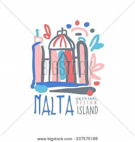 Malta Island Logo Template Original Design, Exotic Summer Holiday Badge, Label For A Travel Agency,