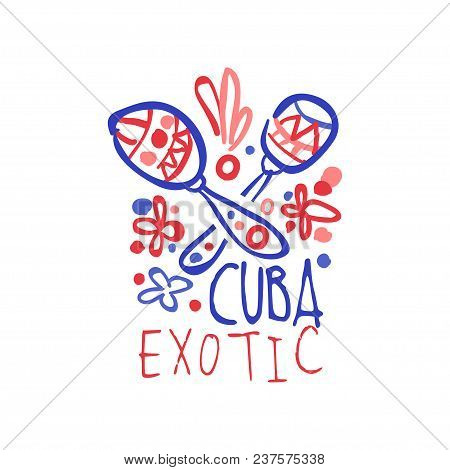 Cuba Island Logo Template Original Design, Exotic Summer Holiday Badge, Label For A Travel Agency, E