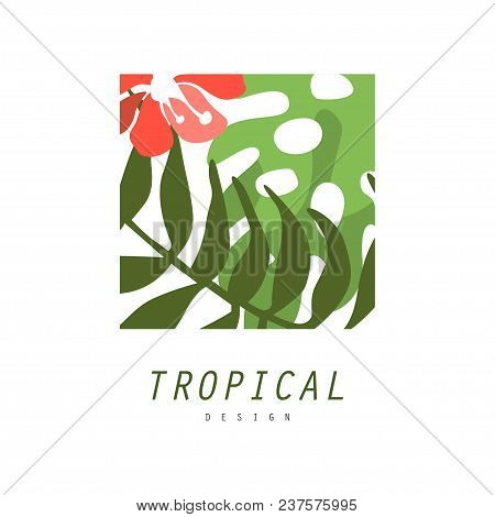 Tropical Logo Design, Square Geometric Badge With Palm Leaves And Red Flower Vector Illustration Iso