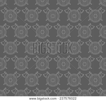 Seamless Pattern With Viking Shields And Axes. Can Be Used For Graphic Design, Textile Design Or Web