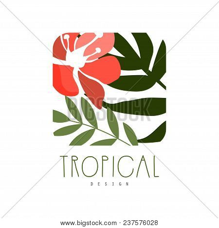 Tropical Logo Design, Square Badge With Green Leaves And Red Flower Vector Illustration Isolated On