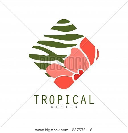 Tropical Logo Template Design, Geometric Badge With Green Leaves And Red Flowers Vector Illustration