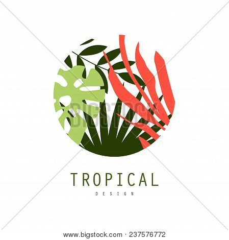 Tropical Logo Design, Round Badge With Palm Leaves Vector Illustration Isolated On A White Backgroun