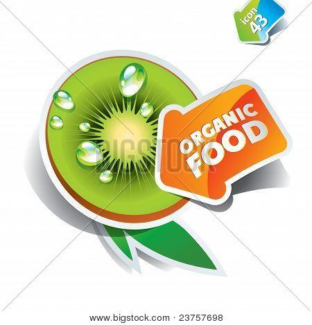Icon Kiwi With Arrow By Organic Food. Vector Illustration.