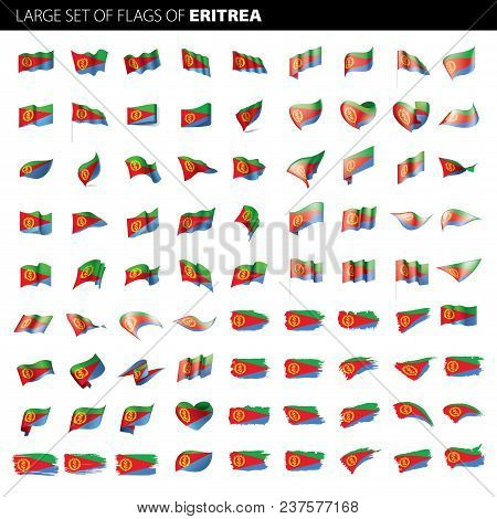 Eritrea Flag, Vector Illustration On A White Background. Big Set