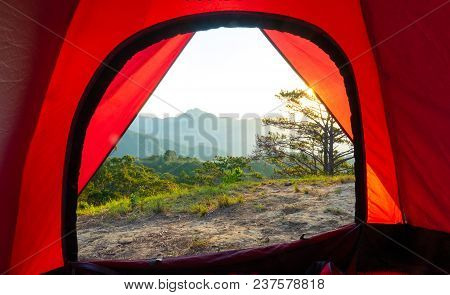 Beautiful Sunrise And View From Inside A Tent On The Mountains. Royalty High Quality Free Stock Imag