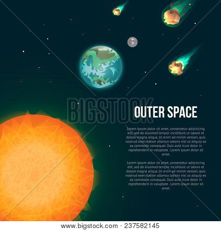 Outer Space Poster With Earth, Moon, Sun And Asteroids In Universe. Astronomical Scientific Space Re