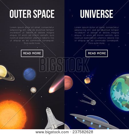 Outer Space Flyers With Cosmic Elements. Astronomical Scientific Space Research, Universe Discovery.