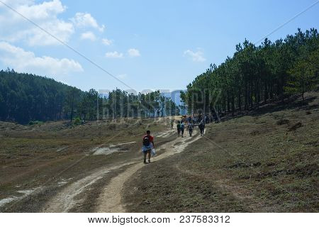 Hiking On The Hill In Sunny Day. Royalty High Quality Free Stock Image Of Group Walking Up Steep Gra