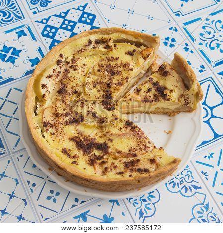 Apple Tart Cut Pie Crumbly Shortbread Blue Square.