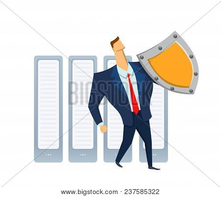 Man In Business Suit With A Shield Standing In Front Of Raw Of Servers. Protecting Your Personal Dat