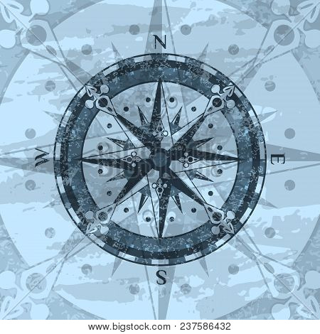 Grunge Blue Background With Compass Rose. Geography Research, Worldwide Traveling And Exploration. N