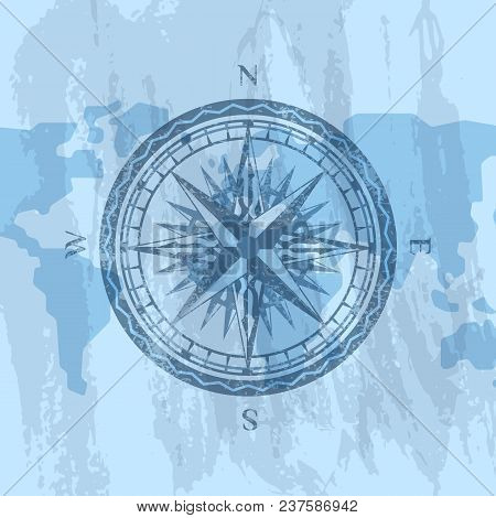 Vintage Wind Rose On Grunge Background Of World Map. Geography Research, Worldwide Traveling And Exp