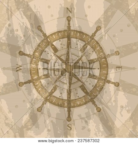Vintage Wind Rose On Grunge Background. Geography Research Concept, Worldwide Traveling And Explorat