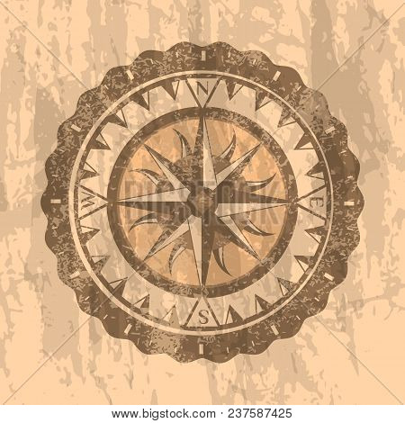 Grunge Gray Background With Compass Rose. Geography Research, Worldwide Traveling And Exploration. N