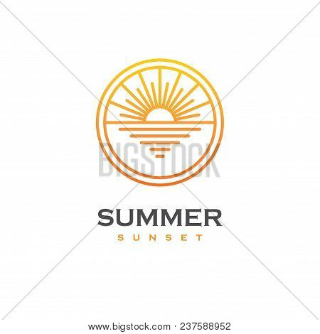 Linear Logo With Sunset Or Sunrise On The Sea In A Shape Of Circle. Sun And Beach Emblem. Summer Tra