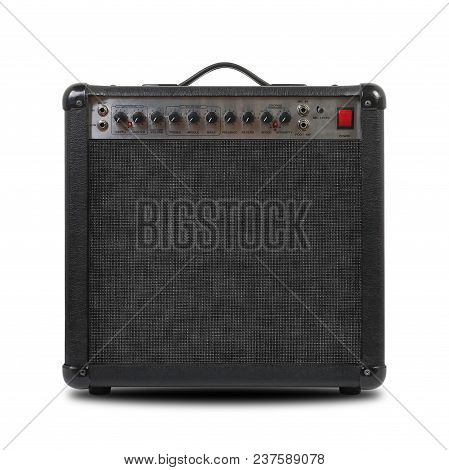 Music And Sound - Musical Instrument Guitar Amplifier Front View Isolated On A White Background.