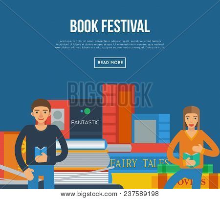 Book Festival Poster With Big Books And People Reading. Literature Event Announcement, Bookstore Adv