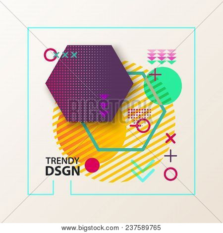 Abstract Geometric Shapes For Modern Design. Hexagon Or Polygon On Lines, Circle And Cross, Arrows.
