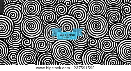 Hand Drawn Black And White Fabric Geometric Pattern. Vector Seamless Pattern. Abstract Background Wi