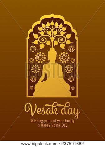 Vesak Day Banner Card With Gold Buddha And Bodhi Tree And Lotus Sign In Window Frame Vector Design
