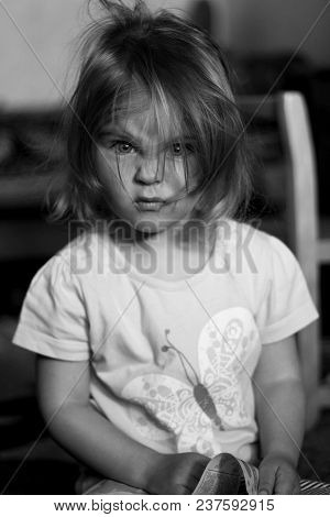 Close-up Portrait Of An Angry Child. Children's Emotions