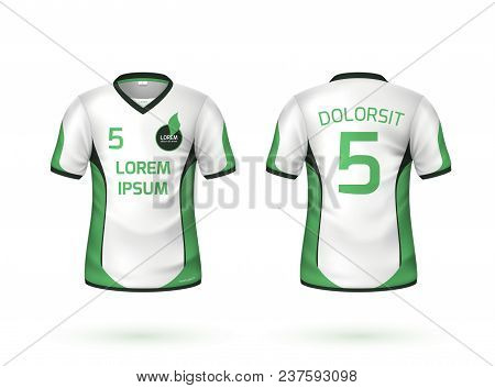 Football, Soccer Sport T-shirt Uniform Mockup. White Apparel With Green Lines, Number And Brand, Log