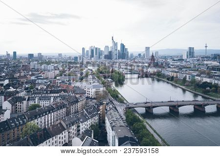 High Angle View Of Frankfurt Am Main Skyline With Main River On Clear Day