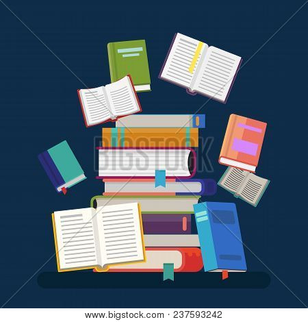 Pile Or Stack, Heap Or Tower Of Paper Books. Opened Textbooks And Closed Notebook With Tassel Or Boo