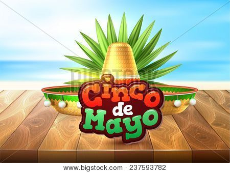 3d Cinco De Mayo Party Poster. Traditional Mexican Holiday Celebration Design With Realistic Sombrer